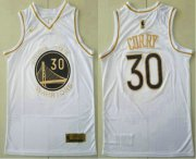 Wholesale Cheap Men's Golden State Warriors #30 Stephen Curry White Golden Nike Swingman Stitched NBA Jersey