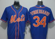 Wholesale Cheap Mets #34 Noah Syndergaard Blue New Cool Base Alternate Home Stitched MLB Jersey