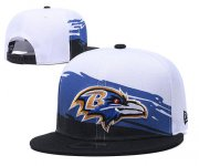 Wholesale Cheap Ravens Team Logo White Black Adjustable Hat GS