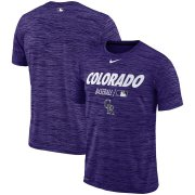 Wholesale Cheap Colorado Rockies Nike Authentic Collection Velocity Team Issue Performance T-Shirt Purple