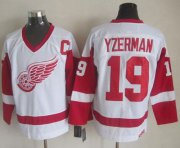 Wholesale Cheap Red Wings #19 Steve Yzerman White CCM Throwback Stitched NHL Jersey