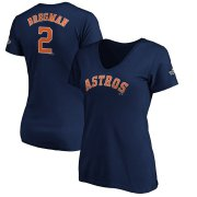 Wholesale Cheap Houston Astros #2 Alex Bregman Majestic Women's 2019 World Series Bound Name & Number V-Neck T-Shirt Navy