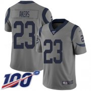 Wholesale Cheap Nike Rams #23 Cam Akers Gray Men's Stitched NFL Limited Inverted Legend 100th Season Jersey
