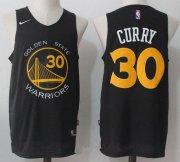Wholesale Cheap Men's Golden State Warriors #30 Stephen Curry Black with Yellow 2017-2018 Nike Swingman Stitched NBA Jersey