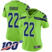 Wholesale Cheap Nike Seahawks #22 Quinton Dunbar Green Women's Stitched NFL Limited Rush 100th Season Jersey