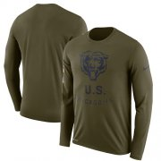 Wholesale Cheap Men's Chicago Bears Nike Olive Salute to Service Sideline Legend Performance Long Sleeve T-Shirt