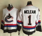 Wholesale Canucks #1 Kirk Mclean White/Black CCM Throwback Stitched NHL Jersey