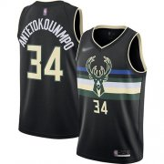 Wholesale Cheap Bucks #34 Giannis Antetokounmpo Black Basketball Swingman Statement Edition 2019-2020 Jersey