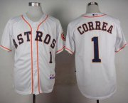 Wholesale Cheap Astros #1 Carlos Correa White Cool Base Stitched MLB Jersey