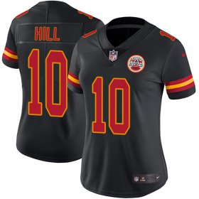 Wholesale Cheap Nike Chiefs #10 Tyreek Hill Black Women\'s Stitched NFL Limited Rush Jersey