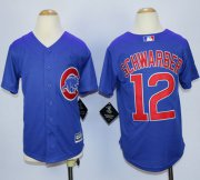 Wholesale Cheap Cubs #12 Kyle Schwarber Blue Cool Base Stitched Youth MLB Jersey