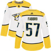 Wholesale Cheap Adidas Predators #57 Dante Fabbro White Road Authentic Women's Stitched NHL Jersey