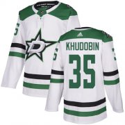 Cheap Adidas Stars #35 Anton Khudobin White Road Authentic Stitched NHL Jersey