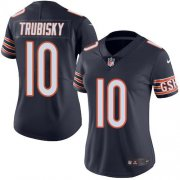 Wholesale Cheap Nike Bears #10 Mitchell Trubisky Navy Blue Team Color Women's Stitched NFL Vapor Untouchable Limited Jersey