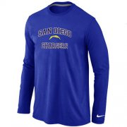 Wholesale Cheap Nike Los Angeles Chargers Heart & Soul Long Sleeve T-Shirt Blue