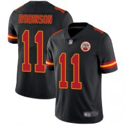 Wholesale Cheap Nike Chiefs #11 Demarcus Robinson Black Men's Stitched NFL Limited Rush Jersey