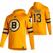 Wholesale Cheap Boston Bruins #13 Charlie Coyle Adidas Reverse Retro Pullover Hoodie Gold