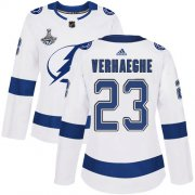 Cheap Adidas Lightning #23 Carter Verhaeghe White Road Authentic Women's 2020 Stanley Cup Champions Stitched NHL Jersey