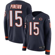 Wholesale Cheap Nike Bears #15 Eddy Pineiro Navy Blue Team Color Women's Stitched NFL Limited Therma Long Sleeve Jersey