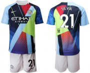 Wholesale Cheap Manchester City #21 Silva Nike Cooperation 6th Anniversary Celebration Soccer Club Jersey