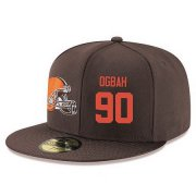 Wholesale Cheap Cleveland Browns #90 Emmanuel Ogbah Snapback Cap NFL Player Brown with Orange Number Stitched Hat