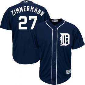 Wholesale Cheap Tigers #27 Jordan Zimmermann Navy Blue Cool Base Stitched Youth MLB Jersey