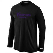 Wholesale Cheap Nike Minnesota Vikings Authentic Font Long Sleeve T-Shirt Black