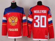 Wholesale Cheap 2014 Olympic Team Russia #30 Andrei Vasilevski Red Stitched NHL Jersey