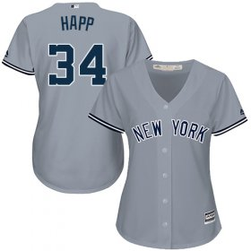 Wholesale Cheap Yankees #34 J.A. Happ Grey Road Women\'s Stitched MLB Jersey