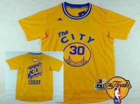 Wholesale Cheap Men\'s Golden State Warriors #30 Stephen Curry 2015-16 Retro Yellow Short-Sleeve 2017 The NBA Finals Patch Jersey