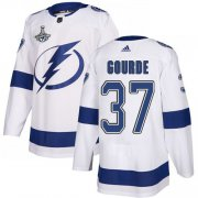 Cheap Adidas Lightning #37 Yanni Gourde White Road Authentic Youth 2020 Stanley Cup Champions Stitched NHL Jersey
