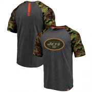 Wholesale Cheap New York Jets Pro Line by Fanatics Branded College Heathered Gray/Camo T-Shirt