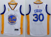 Wholesale Cheap Men's Golden State Warriors #30 Stephen Curry White 2015 Championship Patch Jersey
