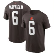 Wholesale Cheap Cleveland Browns #6 Baker Mayfield Nike Team Player Name & Number T-Shirt Brown