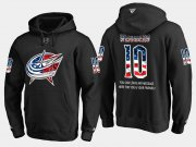 Wholesale Cheap Blue Jackets #10 Alexander Wennberg NHL Banner Wave Usa Flag Black Hoodie