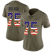 Wholesale Cheap Nike Chargers #75 Bryan Bulaga Olive/USA Flag Women's Stitched NFL Limited 2017 Salute To Service Jersey