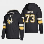 Wholesale Cheap Pittsburgh Penguins #73 Jack Johnson Black adidas Lace-Up Pullover Hoodie