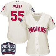 Wholesale Cheap Indians #55 Roberto Perez Cream 2016 World Series Bound Women's Alternate Stitched MLB Jersey