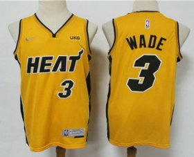 Wholesale Cheap Men\'s Miami Heat #3 Dwyane Wade Yellow Nike Swingman 2021 Earned Edition Stitched Jersey With NEW Sponsor Logo