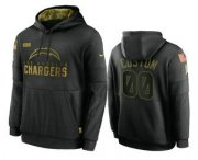 Wholesale Cheap Men's Los Angeles Chargers Custom Black 2020 Salute To Service Sideline Performance Pullover Hoodie