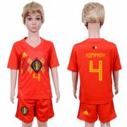 Wholesale Cheap Belgium #4 Kompany Red Home Kid Soccer Country Jersey