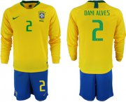 Wholesale Cheap Brazil #2 Dani Alves Home Long Sleeves Soccer Country Jersey