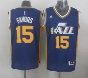 Wholesale Cheap Utah Jazz #15 Derrick Favors Revolution 30 Swingman 2014 New Navy Blue Swingman Jersey