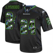 Wholesale Cheap Nike Seahawks #24 Marshawn Lynch New Lights Out Black Youth Stitched NFL Elite Jersey