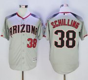Wholesale Cheap Diamondbacks #38 Curt Schilling Gray/Brick New Cool Base Stitched MLB Jersey