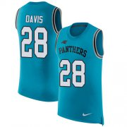 Wholesale Cheap Nike Panthers #28 Mike Davis Blue Alternate Men's Stitched NFL Limited Rush Tank Top Jersey