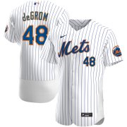 Wholesale Cheap New York Mets #48 Jacob deGrom Men's Nike White Home 2020 Authentic Player MLB Jersey