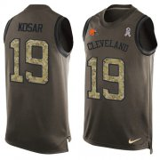 Wholesale Cheap Nike Browns #19 Bernie Kosar Green Men's Stitched NFL Limited Salute To Service Tank Top Jersey
