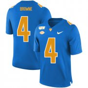 Wholesale Cheap Pittsburgh Panthers 4 Max Browne Blue 150th Anniversary Patch Nike College Football Jersey