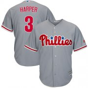 Wholesale Cheap Phillies #3 Bryce Harper Grey Cool Base Stitched Youth MLB Jersey